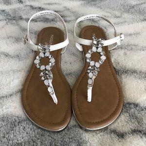 NWOT Madeline Stuart Sandals White W/Gems